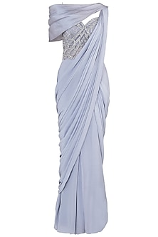 Grey Off Shoulder Gown Saree by Babita Malkani