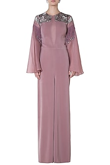Pink Bell Sleeved Jumpsuit by Babita Malkani