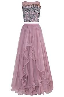 Baby Pink Blouse with Lehenga Skirt by Babita Malkani