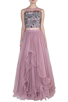 Baby Pink Blouse with Lehenga Skirt by Babita Malkani