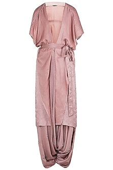 Pink embroidered tie-up jacket with dhoti pants and crop top by Babita Malkani