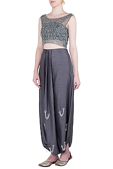 Grey embroidered crop top with pants by Babita Malkani