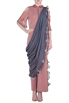 Pink embroidered top with pants and drape dupatta by Babita Malkani