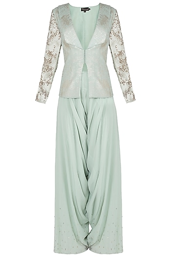 Green embroidered jacket with crotch pants by Babita Malkani