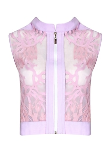 Lilac Self Applique Front Open Jacket by Babita Malkani