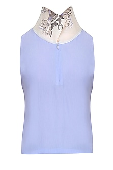 Serenity Blue Printed Cowl Draped High Low Top by Babita Malkani