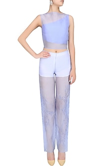 Serenity Blue Intricate Cutwork Cigarette Pants by Babita Malkani