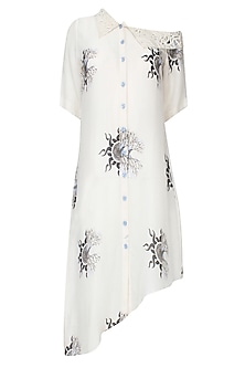Off White Off Shoulder Digital Printed Shirt by Babita Malkani