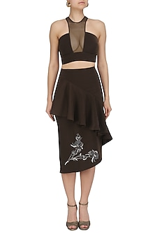 Brunette Brown Crop Top and Ruffled Skirt by Babita Malkani