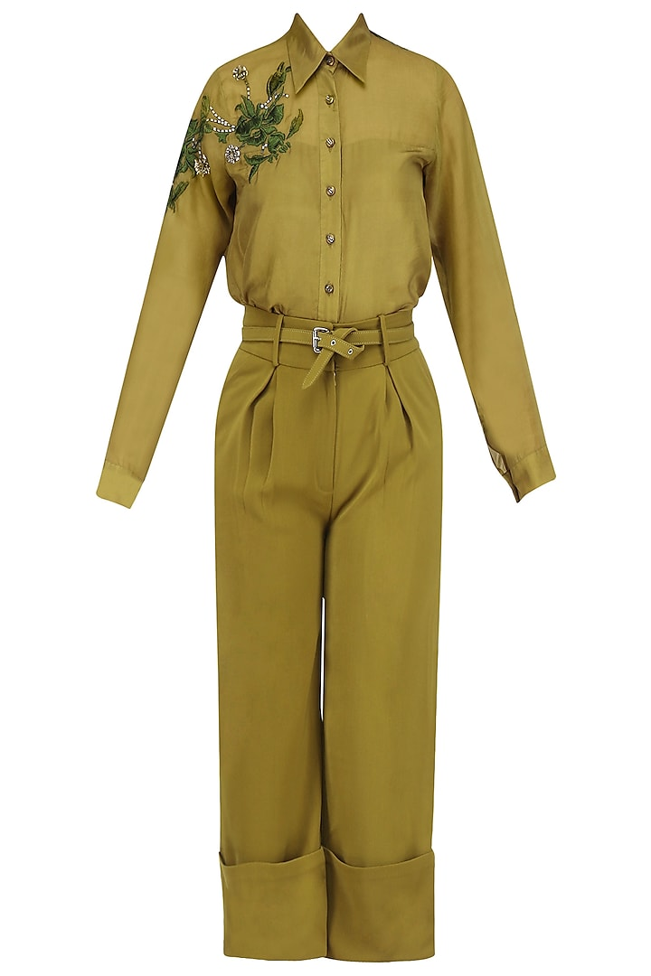 Chartreuse Green Embroidered Shirt and Wide Legged Pants Set by Babita Malkani