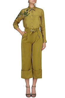 Chartreuse Green Embroidered Shirt and Wide Legged Pants Set by Babita Malkani
