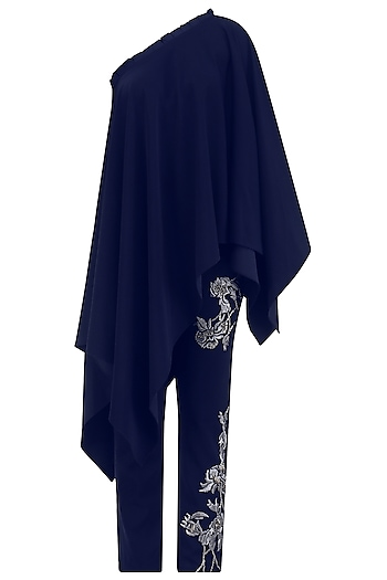 Oxford Blue Asymmetrical Top With Embroidered Pants by Babita Malkani