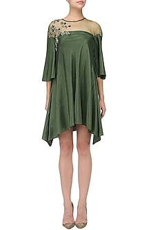 Seaweed Flared Embroidered Dress by Babita Malkani