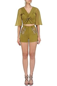 Olive Green Entangled Top and Shorts Set by Babita Malkani