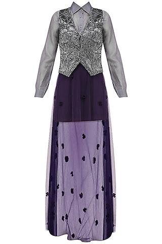 Pewter Grey Self Textured Waist Coat With Shirt and Skirt Set by Babita Malkani