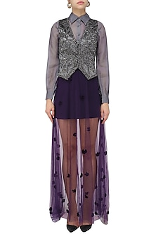 Pewter Grey Self Textured Waist Coat With Shirt and Skirt Set by Babita Malkani