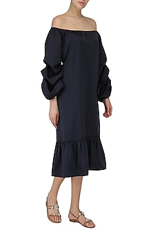 Navy Blue Off Shoulder Dress by Babita Malkani
