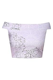 Lilac Digital Printed off Shoulder Crop Top by Babita Malkani