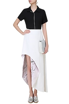 Off White Side High Low Reversible Ball Skirt by Babita Malkani