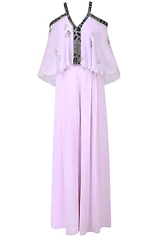 Lilac Floral Work Cold Shoulder Jumpsuit by Babita Malkani