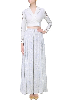 Off White Floral Cutwork Textured Jacket by Babita Malkani