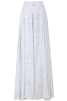 White and Serenity Blue Mosaic Printed Palazzo Pants by Babita Malkani