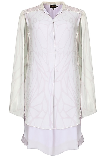 Lilac Double Layer Digitally Printed Shirt Dress by Babita Malkani
