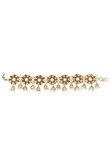 Gold Plated Red Floral Motif and Pearl Droplets Anklets by Blue Turban