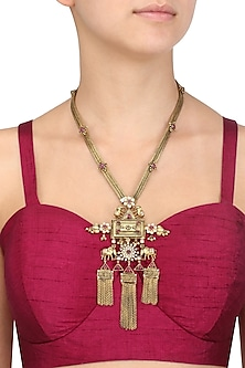 Gold Plated Elephants Inspired and Chain Fringes Necklace by Blue Turban