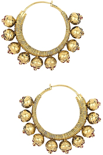 Gold Plated Red Stone Flower Motifs Hoop Earrings by Blue Turban