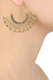 Gold Plated Geometrical Pattern Hoop Earrings by Blue Turban