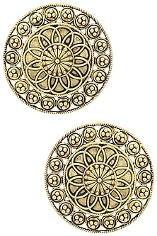 Gold Plated Wire and Rawa Round Studs by Blue Turban
