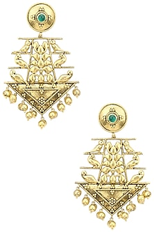 Gold Plated 6 Bird Motifs Earrings by Blue Turban