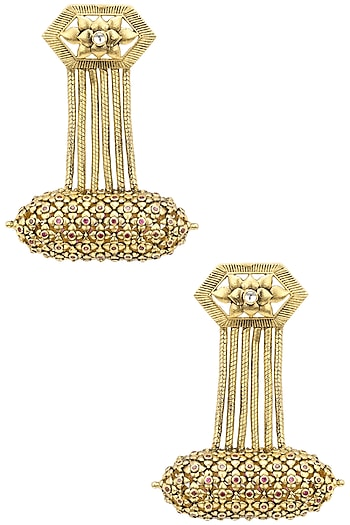 Gold Plated Hexagon Drop Earrings by Blue Turban