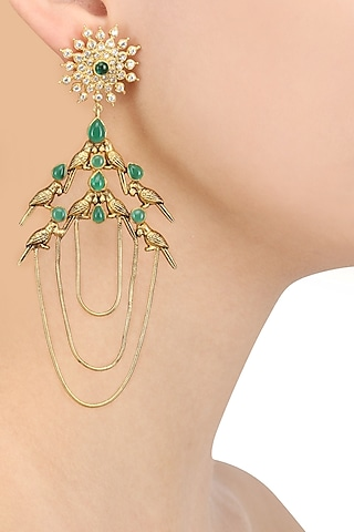 Gold Plated Flock Of Birds Inspired Earrings by Blue Turban