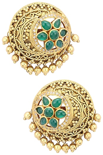 Gold Plated Filigree Work Round Stud Earrings by Blue Turban