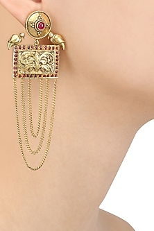 Gold Plated Two Birds Rectangular Chitai Motif Long Earrings by Blue Turban
