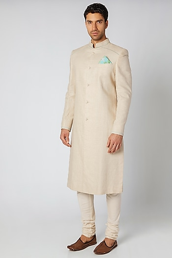 Ash Grey Sherwani Set by Bubber Couture
