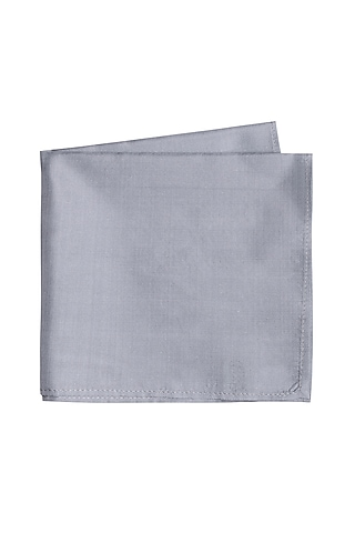 Grey Silk Pocket Square by Bubber Couture