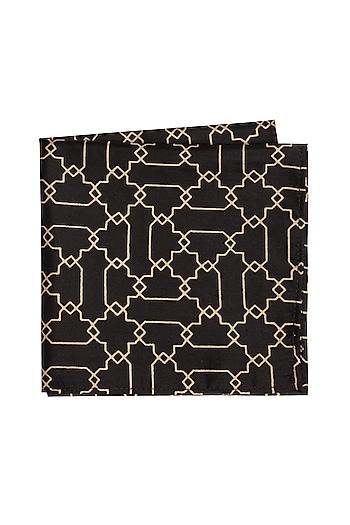 Black Printed Pocket Square by Bubber Couture