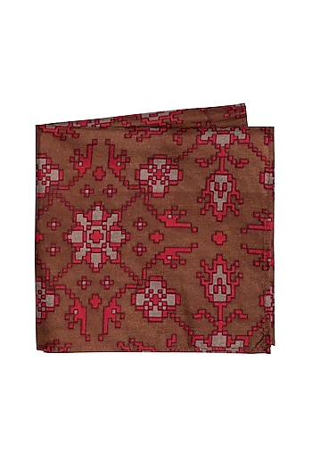 Maroon Floral Printed Pocket Square by Bubber Couture