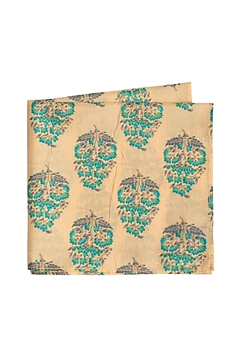 Beige Printed Pocket Square by Bubber Couture