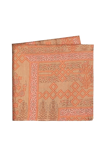 Beige & Peach Printed Pocket Square by Bubber Couture
