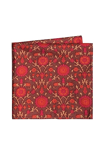 Maroon Printed Pocket Square by Bubber Couture