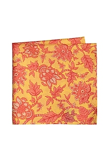 Yellow & Peach Printed Pocket Square by Bubber Couture