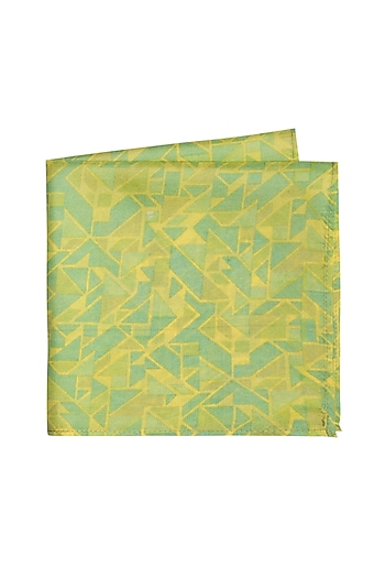 Mint Green Printed Pocket Square by Bubber Couture