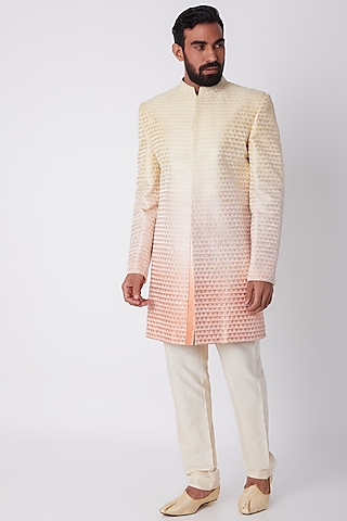 Yellow To Peach Ombre Embroidered Achkan by Bubber Couture