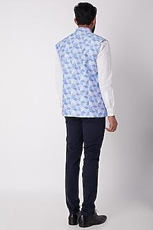 Cobalt Blue Printed Bundi Jacket by Bubber Couture