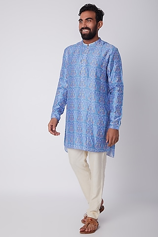 Cobalt Blue Digital Printed Kurta Set by Bubber Couture