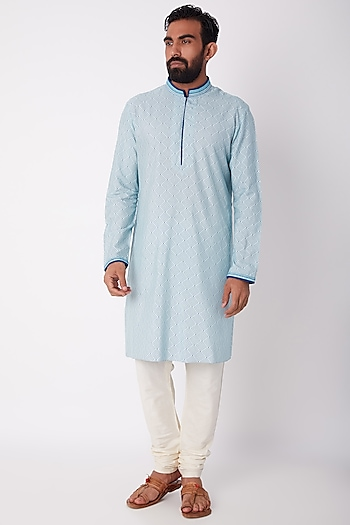 Sky Blue Printed & Embroidered Kurta Set by Bubber Couture